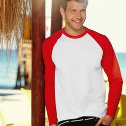 Fruit of the Loom | Long Sleeve Baseball T-Shirt - Fashion Fit